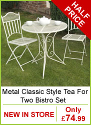 Metal Classic Style Tea For Two Bistro Set