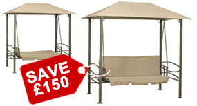 Deluxe Gazebo 3 Seater Mocha Swing Bed with Cushions